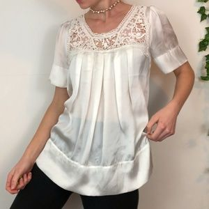Soft silky white top with lace